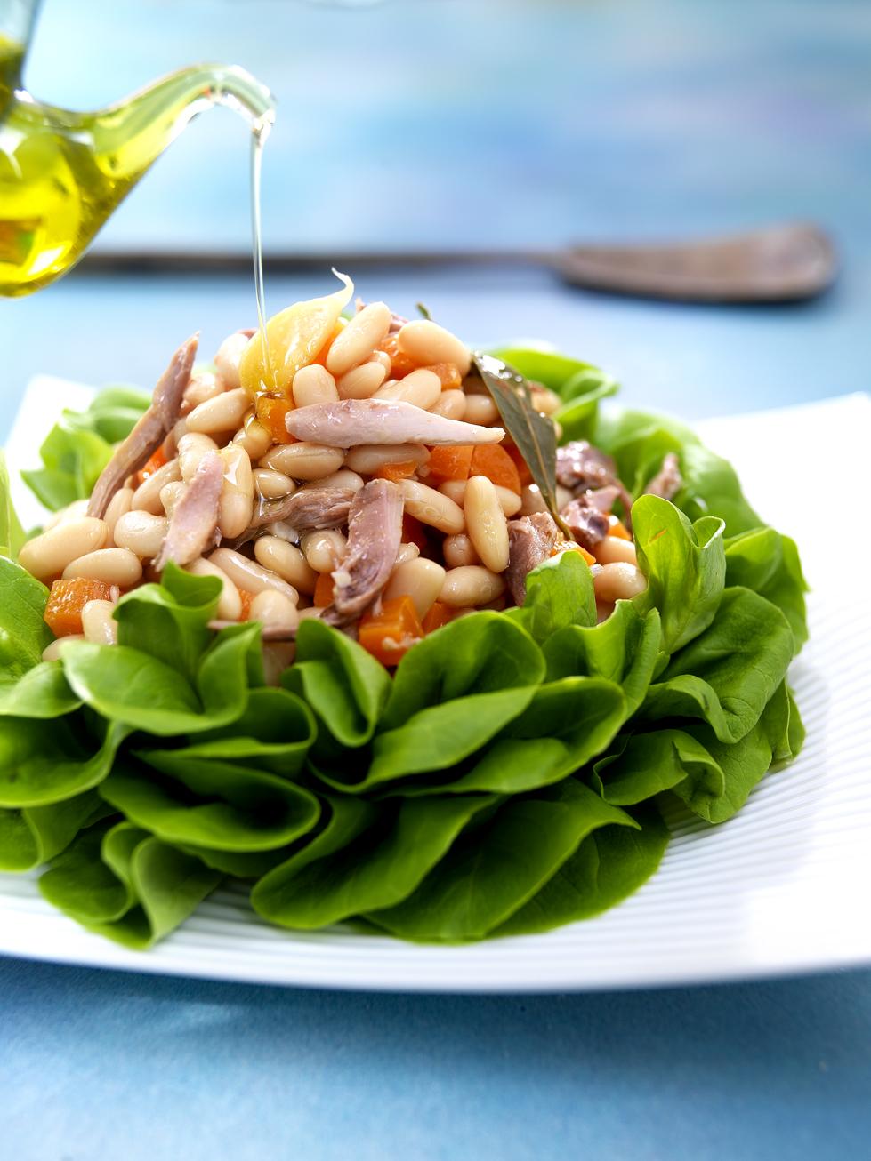 Ensalada de alubias y perdiz escabechada cocinar con for Como cocinar alubias blancas